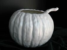 """NEW Made in USA 2017 Large Ceramic Pumpkin Bowl w Ladle 8""""t 11""""w White Satin"""