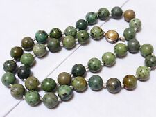 VINTAGE NATURAL AFRICAN TURQUOISE 10mm BEADED NECKLACE, STERLING CLASP 59 grams