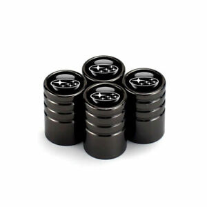 Black Chrome Car Wheel Tire Tyre Air Valve Caps Stem Cover With SUBARU Emblem