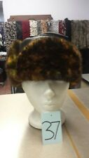 UNISEX MINK PRINT FUR RUSSIAN TROOPER HAT WITH LEATHER TOP (SIZE S-M)