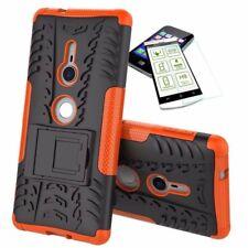 Para Sony Xperia XZ2 Carcasa Híbrida Conjunto de 2 Piezas Naranja Funda + 0,3 Mm