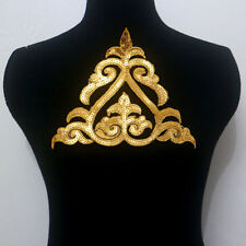 1 Piece Motif Gold Sequined Embroidery Applique/Patch Sew On & Iron-On