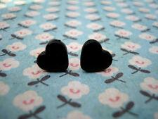 FUNKY BLACK MINI HEART EARRINGS CUTE KITSCH LOVE RETRO EMO VINTAGE ROCKABILLY 50
