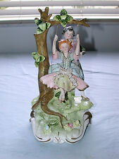 Antique Italian Capodimonte  Artist Signed Boy & Girl on Swing Large Figurine