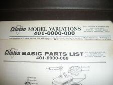clinton parts list,clinton 401-0000-000,1963 illustrated antique clinton engine