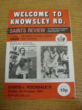 08/10/1978 Rugby League Programme: St Helens v Rochdale Hornets (folded, team ch