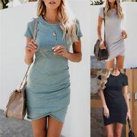 Women's Asymmetric Bodycon Short Sleeve Holiday Ladies Summer Party Mini Dress