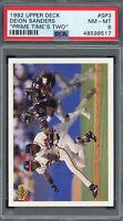 Deion Sanders 1992 Upper Deck Prime Times Two Baseball Card #SP3 PSA 8