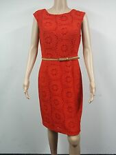 NEW - Ellen Tracy - Size 12 - Sleeveless Belted Croch Coral Dress - Orange  $128
