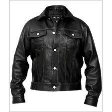 Denim Style Men Black Leather Jacket 2xl