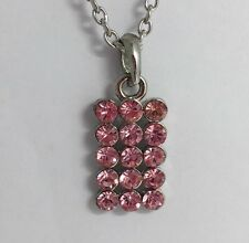 Silver And Pink Diamanté Stone Block. Pendant Necklace A219 Chain  Plty