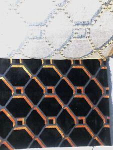 3 metres heavy orange and black geometric velvet upholstery fabric