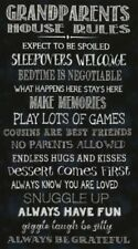 Grandparents House Rules Black Background Cotton Quilting Fabric Panel