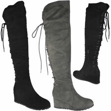 Womens Ladies Over The Knee High Boots Lace Up Mid Wedge Heel Boots Shoes Size