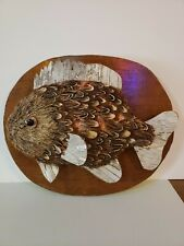 Vintage Faux Fish Mounted Plaque Feathers Birch Tree Style 10.5""