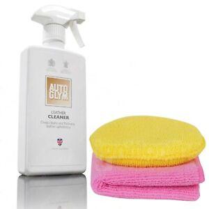 Autoglym Leather Cleaner Clean & Freshens Car Seat Trim 500ml + Cloth & Pad