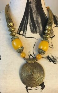 Bold African Style Costume Jewelry in copper and amber style beads. Box C