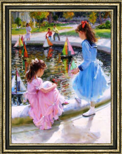 """Original Oil Painting art Impressionis two Small Girl  on canvas 30""""X40"""""""