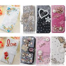 Bling Rose Pendant Crystal Diamond Wallet Flip Case Cover For Samsung Phones