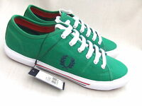 NEW FRED PERRY B4249 VINTAGE TENNIS MENS PRIVET GREEN CANVAS TRAINERS