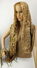 Gold Leopard Paisley Beaded Tassel Shawl Scarf Wrap Brown Green