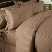 KING SIZE TAUPE STRIPE BED SHEET SET 800 THREAD COUNT 100% EGYPTIAN COTTON