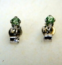 Earth-mined tsavorite garnet ear studs in 14 carat white Gold...2 mm gems