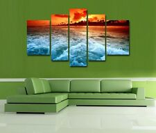 HD Canvas Print home decor wall art painting Picture,Sunset Beach 5PC/Unframed