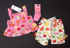 NWT Gymboree Tutti Fruity 3-6 Months Pink Fruit Top White Bermuda Shorts & Socks