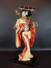 Vintage Japanese Geisha Girl doll in Silk Clothes with Stand `15 inches