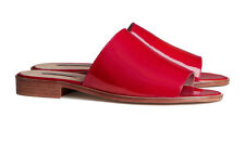 H&M Trend Premium Quality Red Patent Leather Mules Slides Size EUR 38 / US 7