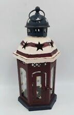 Patriotic Hanging lantern tealite Candle Holder Red White Blue w/Stars Metal