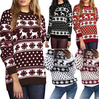 Womens Winter Christmas Pullover Snow Pattern Floral Dot Print Tops Blouse Shirt