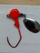 20ct. 1/16oz. Blaze Orange spinner jig w/ #2 red Eagle Claw Lil' Nasty hook