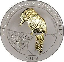 1 OZ Silber Kookaburra 2008 mit Goldapplikation
