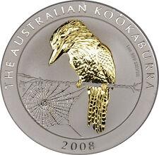 1 OZ Silber Kookaburra 2008 mit Goldapplikation