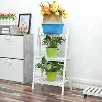 Wood Plant Stand Ladder Indoor Outdoor Foldable Flower Shelf Rack Planter Holder