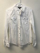 NWT Express Blouse White Button Down Long Sleeve Collared Neck Women S/P