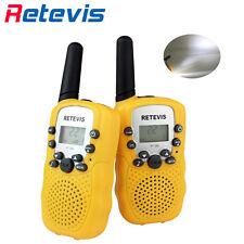 2×Retevis RT-388 Kids Yellow Walkie Talkie UHF 22CH LCD+Flashlight 0.5W Radio US