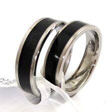 50x Black Enamel Stainless Steel band Rings 6MM Men Women Comfort fit Rings