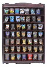 49 Shot Glass Display Case Cabinet Rack Wall Shelves, NO Door, Mahogany Finish