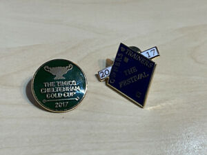 2 x 2017 Cheltenham Festival Horse Racing Enamel Badge Timico Gold Cup + Owners