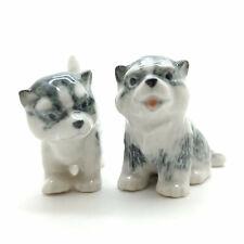 2 Siberian Husky Alaskan Malamute Dog Figurine Ceramic Puppy Baby - Cdg192