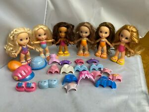 Lot Snap N Style 6 Dolls Shoes & Accessories CLEAN Shiny Hair Brunette Blonde