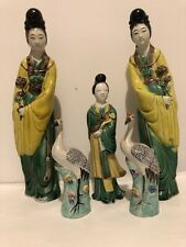 New listing Bid Pair Antique Chinese Export Porcelain Figures Statue Vintage Asian Old China