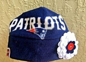 New England Patriots Fleece Flower Hat Sizes Newborn Baby girls, Children, Women