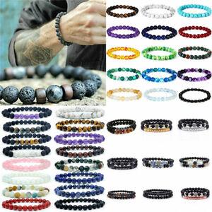 Bulk Stretchy Stone Bracelets Assorted Natural Gemstone 8mm Beads Healing Reiki