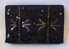 Magid Black Sequin Evening Bag Satin Fabric Envelope Purse Clutch Handbag Thin
