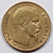 FRANCE 1860 BB Napoléon III 20 FRANCS 6.45 Gram GOLD Coin XF 0.1867 AGW KM 781.2