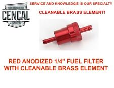 """RED BILLET 1/4"""" FUEL FILTER WITH CLEANABLE BRASS ELEMENT 131261275 RED"""